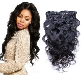 Unprocessed Brazilian body wave clip in human hair extensions,1B clip on hair 7 pieces full head,Brazilian wavy hair clip ins on Sale