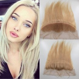 Knotting Hair Styles Canada - #613 bleached knots 13*4inches size free style 8a unprocessed brazilian virgin remy hair blonde color lace closure straight