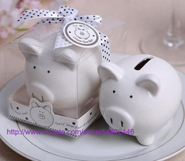 coin save Australia - 100sets Kids Child Gift Wedding gifts Ceramic Pig Piggy Bank Coin Bank decoration Favors Party Storage Saving Can Tanks White
