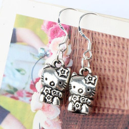 925 cat pendant online shopping - 925 Silver Flower Cat Charm Pendant Earrings pairs Antique Silver Fish Ear Hook Jewelry E072 x32mm