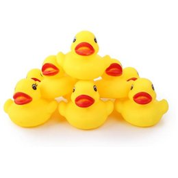 inflatable animals for pool 2018 - Mini Yellow Rubber Ducks 4.5*4.5*3cm Baby Bath Water toys for sale Kids Bath PVC duck with sound floating duch wholesale