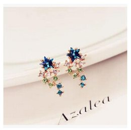 Discount beautiful earrings girls 2015 new 925 Sterling silver colorful diamond earrings women girl beautiful statement earrings earrings fashion stud m733