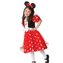 Barato Fantasias De Performance Infantil-Crianças europeias Cosplay Anime Costumes Polka Dot Baby Girls desempenho Headband Dress Dia das Crianças Party Supplies Promoção SD631