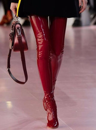 Size Black Pvc Knee High Boots Canada - Fashion Women Clear Thigh High Boots 9cm Perspex High Heels Over the Knee Celebrity Shoes Clear Heels Red Blue Black Size 35-42