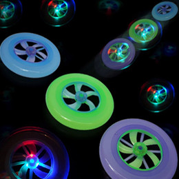 Discount led spin ball New Speical Colorful Fashion Hot Spin LED Light Magic Outdoor Toy Flying Saucer Disc Frisbee UFO Kid Toy