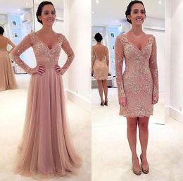 floor length chiffon skirt 2019 - 2016 Pearl Pink Two Pieces V Neck Sheath Prom Dresses Appliques Sequins Short Mini Detachable Skirt Fashion Cocktail Eve