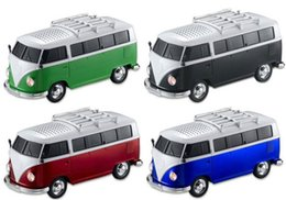speaker mini bus NZ - Christmas gift Bus Car Shape Mini Speaker Music MP3 Player 3D Stereo Sound Subwoofer U Disk TF SD Card FM Radio Retail Package