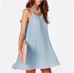 e36e934575be Loose Casual Short Strapless Dresses Canada - 2015 summer new fashion women  chiffon pleated dress casual