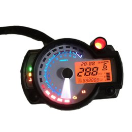 motorcycle digital tachometers UK - Motorcycle Adjustable Tachometer Speedometer LCD Digital Odometer White Panel 299 MPH KPH Universal For All Motorcycle TYB004