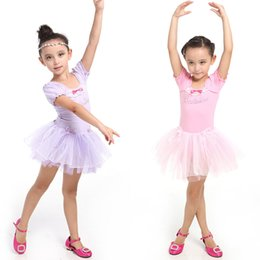 Vestidos De Ballet De Danza De Niño Baratos-New Girl Leotardo Ballet Tutu Dance Party Dress 3-7Y Niño Traje de manga corta