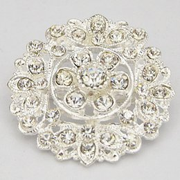 Barato Porcelana Buquê Flor-2015 New Design Pretty Silver Tone Flor Alloy Pin Broches Wedding Bridal Bouquet Diamante Brooch B912 Hot Selling Convite Card Pins