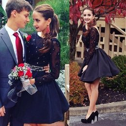 Barato Joelho Elegante Faixas-Elegant Black Lace Long Sleeve Vestidos de noite New Arrived 2017 Sexy Beaded Sashes Backless Prom Vestido de festa Knee-Length Ocasião Vestidos