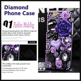 DiamonD Design for phone online shopping - Luxury Design For iphone case plus phone shell retro fashion resin flowers purple diamond shockproof Popular brands Back Cover