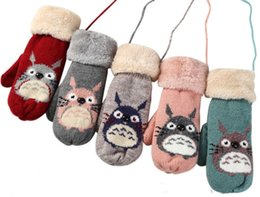 $enCountryForm.capitalKeyWord NZ - New Cartoon Cute Chinchilla Knitted Gloves For Girls Women Size 5 Colors Crochet Plus Velvet Winter Mittens With Hanging Rope