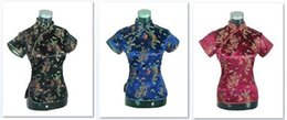 Tops Traditionnels Pas Cher-Shanghai Story Nouvelle vente Chinoise cheongsam top chinoise traditionnelle chinoise en satin / satin Top dragon chinois et phoenix blouse top Qipao Shirt