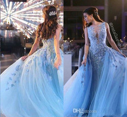zuhair murad dress blue Canada - Zuhair Murad Evening Dresses Ice Blue Applqieus Princess Cinderella Prom Gowns Tulle Luxury Party Gowns Vetidos