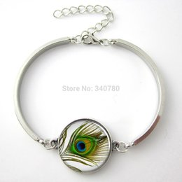 Discount peacock ring bracelet - 1 pc lot Eye of the Peacock pendant, peacock bracelet jewelry peacock feather bangle glass charm bracelet&bangle.