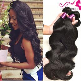 peruvian virgin hair queens product 2019 - Dyeable Brazilian Peruvian Malaysian Indian Hair Products Brazilian Virgin Hair Body Wave 4 Bundles 100% Human Hair Weav