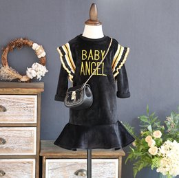 Chicas Dulces Coreanas Baratos-Everweekend Girls Letter bordado Pleuche volantes vestido Sweet Baby ropa de color negro Princess Korean Fashion Autumn Dress