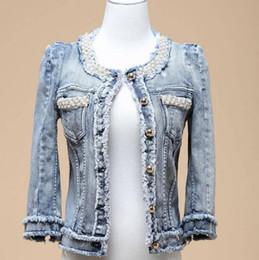 Beaded Jackets Women Canada - Wholesale- Women Jeans Jackets 2016 Spring Autumn beaded Denim Coat Tassel For Women Short Tops Clothing Chaquetas Mujer D347
