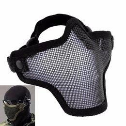 Discount metal mesh half face mask - Airsoft Mask Tactical Helmet Half Lower Face Mesh Metal Steel Net CS GO Hunting Protective Watch Dogs Mask
