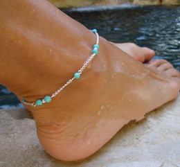 Unique Ankle Bracelet Chains NZ - 1pc Unique Nice Beads Silver Chain Anklet Ankle Bracelet Foot Jewelry New free shipping XY-B97