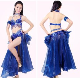 Barato Cintos De Dança Do Ventre Tribal-2015 Belly Dance Costume 2PCS (Bra + Belt) Bordados Tribal Vestidos Indianos Profissional Danca Do Ventre Prática / Performent Dress DQ1004