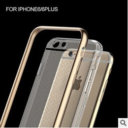 Iphone Metal Case Silver Canada - Luxury Hybrid Metal Aluminium Frame Bumper Soft Clear Transparent Crystal TPU cover case for Iphone 6 6S 5 5S 6+ Plus