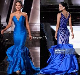 Miss universe evening dresses online shopping - Miss Universe Evening Dresses Mermaid Blue Illusion Back Beaded Sequins Ruffles Satin Sleeveless Pageant Gowns Formal Prom Dress