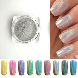 Discount holographic glitter nail art - Wholesale- 2g Bottle Silver Laser Holographic Nail Powder Glitter Nail Art Rainbow Chrome Pigments DIY Manicure Charms N