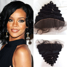 "hairstyles lace closures 2019 - Shipping Free 3 Parts Brazilian Hair Lace Frontal Closure Loose Wave 13""*4"" With Baby Hair Swiss Lace Rihanna"