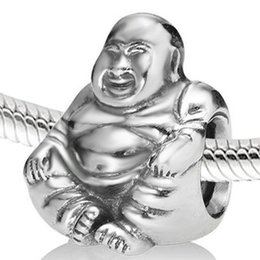 925 Sterling Silver Buddha Beads Fit Pandora European Charms Bracelet Snake Chain Jewelry