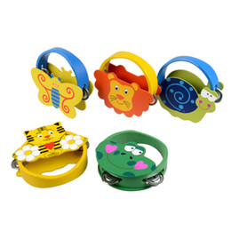 Chinese  Wholesale- Baby Newborn Gift Toys Kids Girls Learning Musical Instrument Toy Rattles Cartoon Wooden Percussion Animal Bell Infant Boys manufacturers