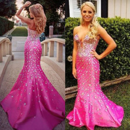 sweetheart roses prom dresses 2021 - 2016 Hot Prom Dresses Crystal Beaded Romantic Rose Red Mermaid Party Dresses Deep V-Neck Sexy Evening Homecoming Graduation Dresses
