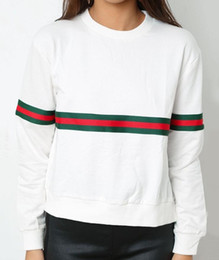 T Shirt Pullover Canada - 2018 Spring Autumn Fashion Women Hoodies Long Sleeve Sweatshirts Loose Casual O-Neck stripe T shirt pullover tops Red Yellow Black