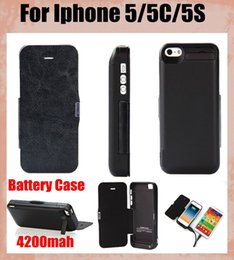 Flip Charger Canada - external battery case phone case 2 in 1 4200mah backup battery charger case portable power bank with flip for iphone 5 5C 5S BAC014