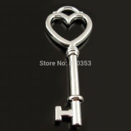 Horn Charms Wholesale NZ - Wholesale Antique Style Silver Tone Key Alloy Charms Pendants Findings 56*21*5mm 15PCS 37666 Charms Cheap Charms