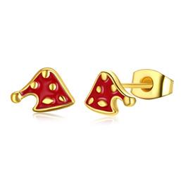 beautiful earrings girls 2019 - Christmas Hat Earrings Yellow Gold Plated Rose Gold Beautiful Charm Girls Women Jewelry Xmas Gifts Free Shipping cheap b