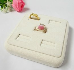 Ring Case Holder Displays Canada - Jewelry Stand 5 Ring Slot Beige Velvet Tray Holder Wood Display Case