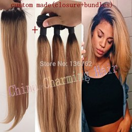Ombre Hair Extensions #1b 27 Honey Blonde Ombre Dark Root Virgin Human Hair 3Pcs With Lace Closure Two Tone Straight Hair Weave Freeshipping