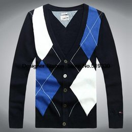 Blusas Polo Pas Cher-Vente en gros Man-Pull Casual Blusas Masculinas V-Neck Men Marque Cardigan Polo Plus Size Sweater Mens Sweaters Taille M L XL XXL 8218