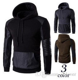 leather sleeve sweatshirts Canada - Good Quality Men's Hoodies Fashion Casual Leather Black Hoodies Spring Winter Coat Sweatshirts Men's Clothing Preppy Style Sportwe