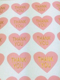 """Thanks Stickers Canada - Pink Thank You Sticker Labels Thermoprinting Gold """"THANK YOU""""Labels heart-shaped design Stickers Golden text Sticker Labels"""