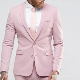 mens slim fit yellow suit Canada - Pink Slim Fit Wedding Tuxedos for Groom Wear 2018 Notched Lapel Custom Made Groomsmen Suit Two Piece Mens Suits (Jacket + Pants)