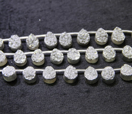 Chinese  13X18mm 15.5 Longer Titanium Silver Druzy Agate Beads Natural Teardrop Gemstone Drusy Crystal Quartz Necklace Pendant Jewelry Make Connector manufacturers
