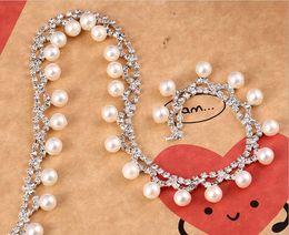 Pearl Trim Yard NZ - 1 Yard Sparkle Rhinestones Round Pearl Beads Tassel Silver Plated Flatback Ribbon Chain Trim For Sewing Craft Diy