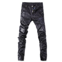 Chinese  Wholesale- Korean Punk rock trousers Black Tight Faux leather pants for men Plus size 32 33 34 36 Skull Skinny slim manufacturers