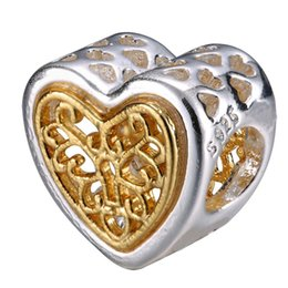 $enCountryForm.capitalKeyWord Canada - 925 Sterling Silver Charm Gold Plated Pattern Hearts European Charms Silver Beads For Snake Chain Bracelet DIY Fashion Jewelry