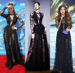 Barato Zuhair Renda Preta-Sexy Zuhair Murad Vestidos Black Illusion Manga comprida Prom Dresses Sheer Lace Evening Gown Formal Red Carpet Formal Dresses