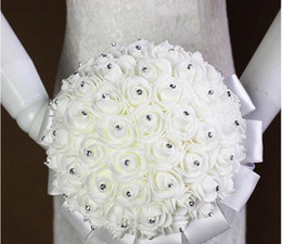 white roses bride hands 2019 - 2016 New Crystal White Bridal Wedding Bouquets Beads Bridal Holding Flowers Hand Made Artificial Flowers Rose Bride Brid